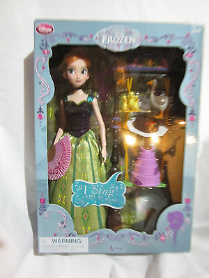 """disney store frozen anna deluxe singing doll set toy 11"""" rare new with box"""
