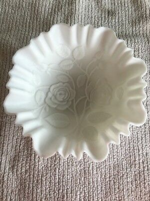Imperial VTG White Milk Glass Satin Bowl HeavY  Embossed Roses & Crimped Edge