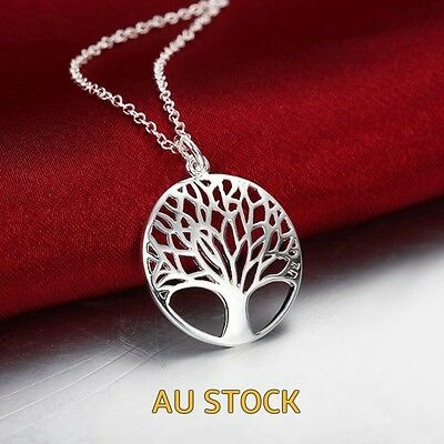 925 Sterling Silver Filled Tree Of Life Pendant  Necklace Gift for Women