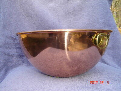 """Large 10-1/2"""" Diameter Copper Mixing Bowl with Brass Hanging Ring"""