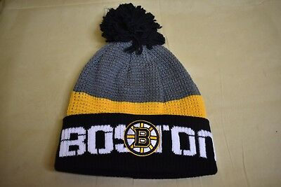279a878e0a6 REEBOK CENTER ICE NHL Boston Bruins Cuffed Pom Beanie Toque Hat NWT ...