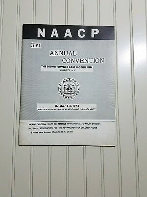 Rare NAACP 31st Annual Convention Charlotte NC Downtown East Motor Inn Oct 1974