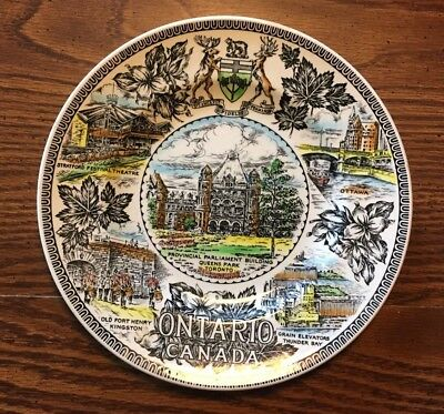 Vntg ONTARIO CANADA PLATE WOOD & SONS POTTERS FOR OVER 200 YEARS MADE IN ENGLAND
