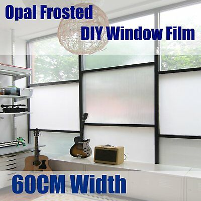 60cm Sticky Reusable Removable Sand Blast Plain Frosted Window Glass Film AU