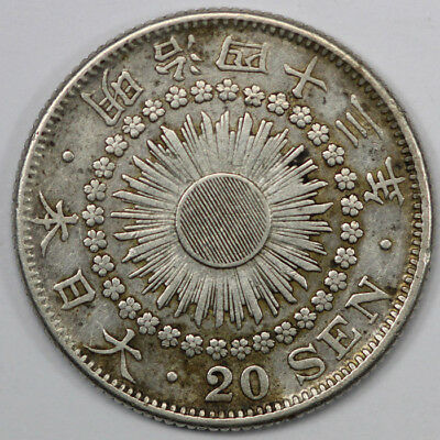 Japan 1910 Silver 20 Sen, good Extremely Fine