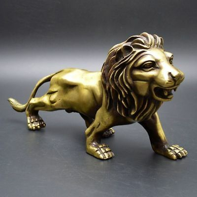 China Exquisite Old Handwork Bronze Fengshui Lucky Lion Home Office Statue