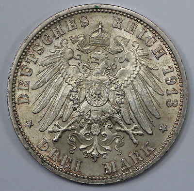 Germany (Prussia) 1913 Silver 3 Mark, Choice Uncirculated