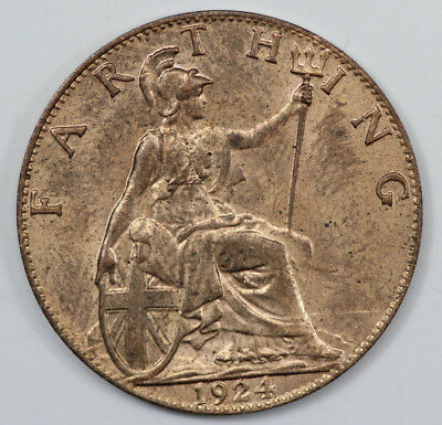 Great Britain 1924 Farthing, Brilliant Uncirculated