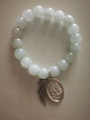 Code 409 Archangel Michael, Guardian Angel n feather Infused Bracelet agate 10mm