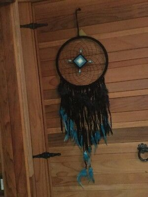 1 New Handmade Black Blue Velvet Ribbon & Feathers Large  Dream Catcher