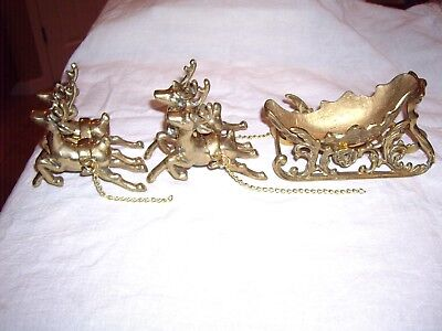 SOLID BRASS SLEIGH & REINDEER Good used condition.  christmas