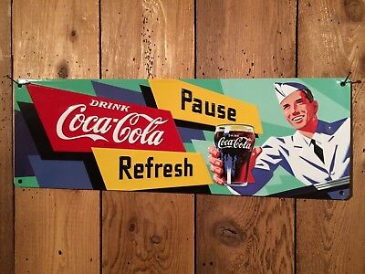 Coca Cola Coke Pause Refresh Embossed Tin Sign-US order ships from WA