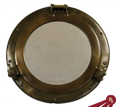 "11"" SHIP PORTHOLE MIRROR - Antique Finish - MARITIME"