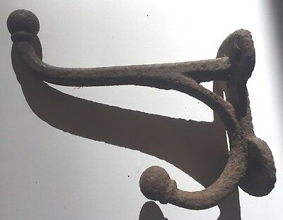 Antique Large Cast Iron Double Hook- For Hall Tree or Coat Rack