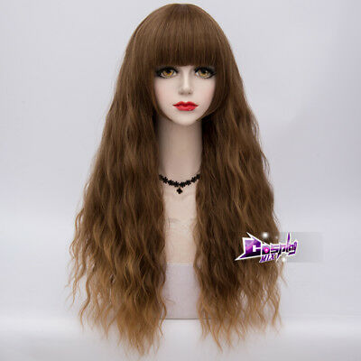 """Lolita 28"""" Perücke Mixed Brown Curly Anime Party Cosplay Karneval Heat Resistant"""