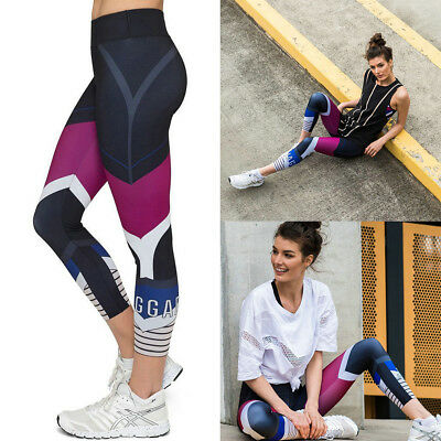 Sexy Women Waist Yoga Fitness Leggings Running Gym Stretch Sports Pants Trousers