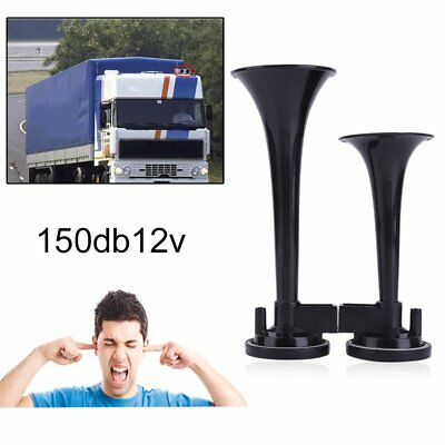 12V 150db Super Loud Dual Trumpet Air Motorcycle Horn For Car Truck Boat AD