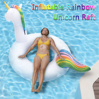 Giant Inflatable Rainbow Unicorn Floating Raft Ride-On Swimming Ring Water Toy