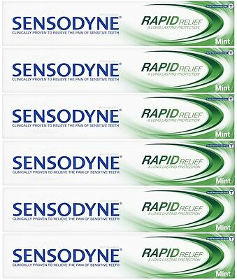 6 x 75ml Sensodyne Rapid Relief & Long Lasting Protection Toothpaste - Mint