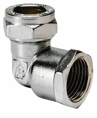 """HIGH QUALITY  Center compression female iron elbow 15mm x 1/2"""" Chrome Plated"""