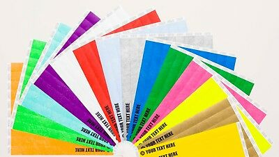 """100 Custom Printed 3/4"""" Tyvek Paper Wristbands for Events,Festivals,Parties"""