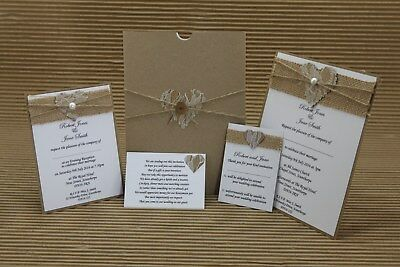 Rustic Hessian Lace Heart Wedding Stationery - Choose Your Own Bundle
