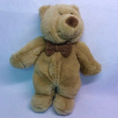 """Vintage tan teddy bear with brown bow tie Commonwealth Toy & Novelty Co 10"""" 1999"""
