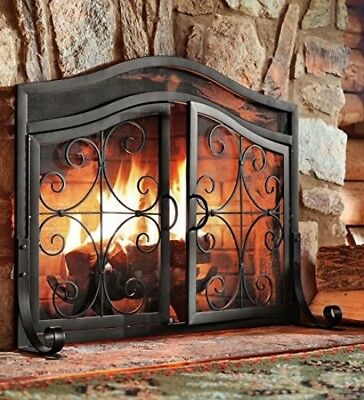 Fireplace Screen Fire Place Double 2 Doors Small Black Wrought Iron Steel Frame