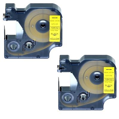 "2PK 18432 Black on Yellow Vinyl Label 1/2"" for DYMO RHINO 4200 5200 6000 Printer"