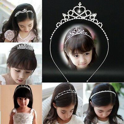 Crystal Rhinestone Wedding Party Children Kids Flower Head Crown Tiara Headband