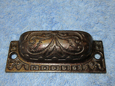 Antique Fancy Cast Iron Cup Pulls Eastlake Bin Drawer Handle Victorian 3 1/2""