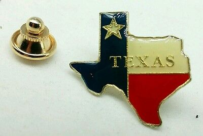 TEXAS Lapel PIN LONE STAR STATE Logo Tie Tac Clip RED,WHITE & BLUE Flag