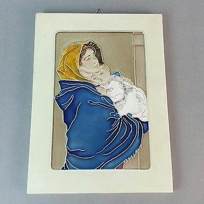 CREAZIONI LUCIANO ITALY WALL ART TILE Woman and Child