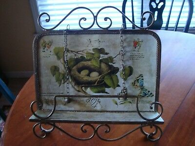Ornate Iron Book Cookbook Music Bible Stand Holder Display Easel Birds Nest