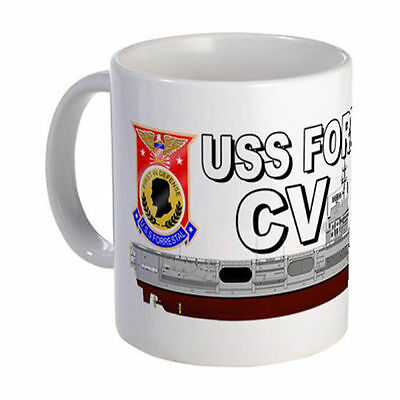 USS Forrestal CV-59 Mug Coffee Cup With Ship And Logo Navy Logos