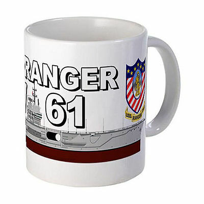 USS Ranger CV-61 Mug Coffee Cup With Ship And Logo Navy Logos