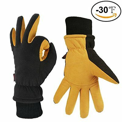 OZERO Men's Deerskin Leather Gloves Winter Outdoor Warm Gloves All Size Yellow