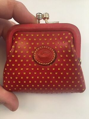 Dooney And Bourke Vintage Snap Closure Coin Purse Red Yellow