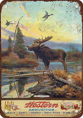 "7"" x 10"" Metal Sign - Western Ammunition and Moose - Vintage Look Reproduction"