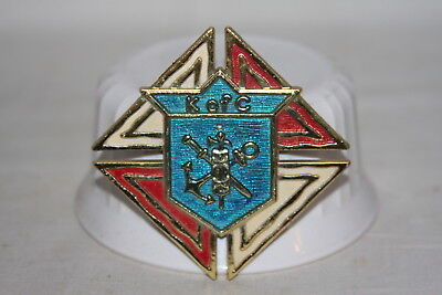 Vintage Enameled Metal Red White and Blue Knights of Columbus Insignia Emblam