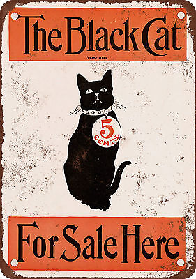 "7"" x 10"" Metal Sign - 1896 The Black Cat Magazine - Vintage Look Reproduction"