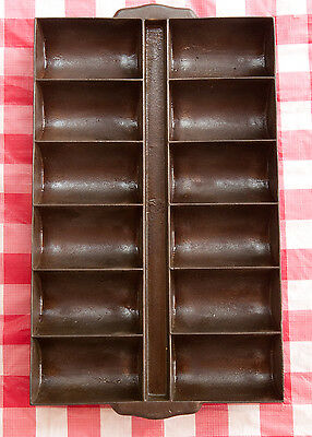 Antique Cast Iron  Large Gate Mark 12 Cup French Roll Pan