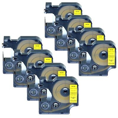 "8PK 18432 Black on Yellow Vinyl Label 1/2"" for DYMO RHINO 4200 5200 6000 Printer"