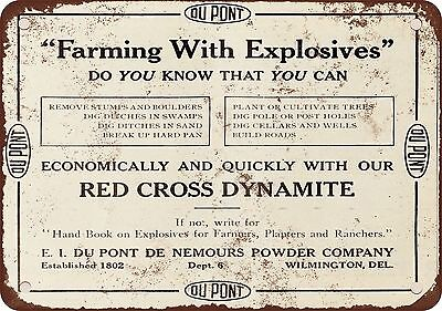 "7"" x 10"" Metal Sign - 1910 Red Cross Dynamite Farming With Explosives - Vintage"