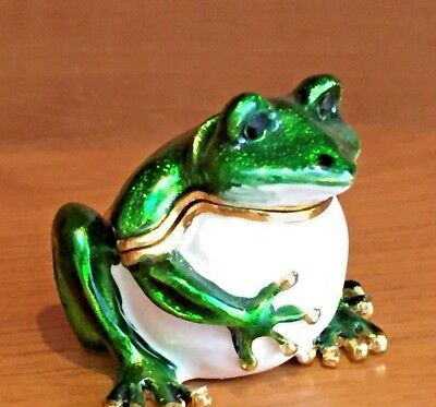 Frog with Round Belly - Enameled Small Box or Toad Trinket box
