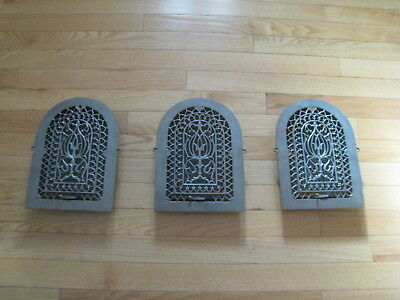 3 Antique Cast Iron Arch Top Victorian Tombstone Heat Grate Wall Registers 8x12