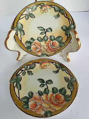 Hand Painted Nippon Saucers Floral Set of 2