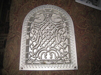 Antique Cast Iron Arch Top Victorian Tombstone Heat Grate Wall Register 9x12