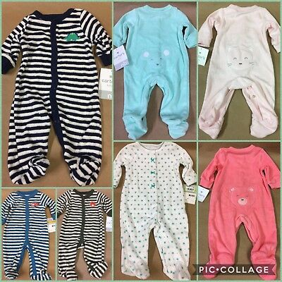 Carters Sleep Play Terry Snap Up Outfit Footie Sleeper Footed Boys Girls 1 Piece