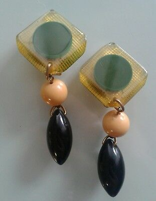 Vintage Art Deco Bakelite Catalin Dangle Clip On Earrings Tested